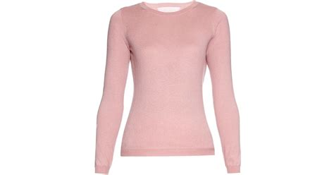 Rd Sweater Eyebrow Pink lyst valentino crew neck and silk blend sweater in pink