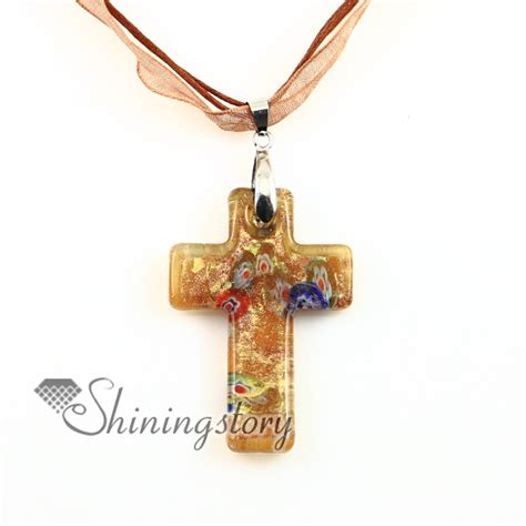 Christian Handmade Jewelry - christian cross pendants glitter millefiori lwork