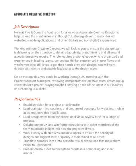 Associate Creative Director Sle Resume by Director Description Responsibilities Director Description Template Workable