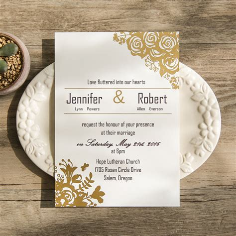 gold wedding cards templates affordable traditional gold foil floral wedding invitation