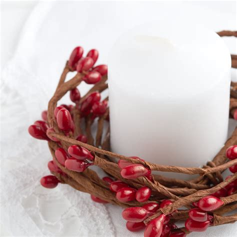 candle ring snow red berries pip berry candle ring pip berries primitive decor