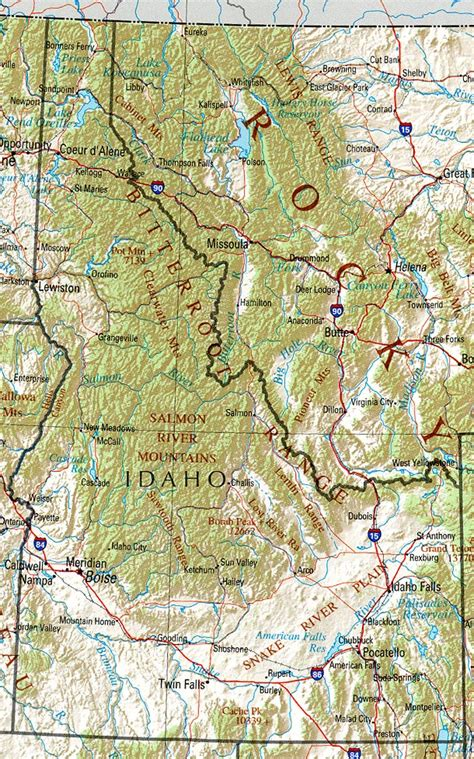 geographic id map texas idaho geography and maps