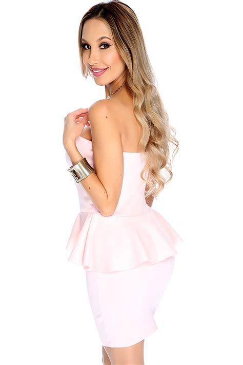 light pink peplum dress light pink strapless peplum dress