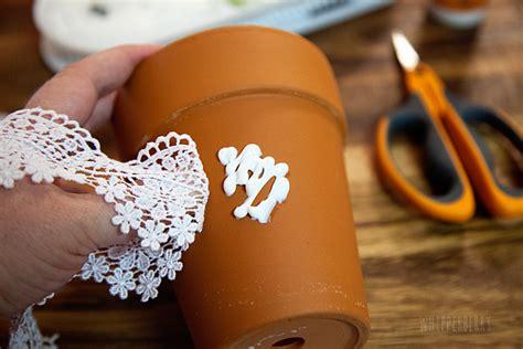 flower pot crafts diy lace flower pots whipperberry