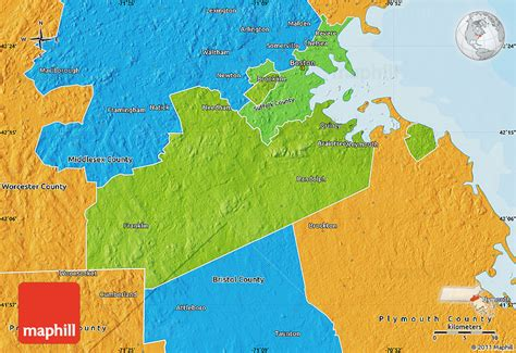 massachusetts physical map physical map of norfolk county political outside