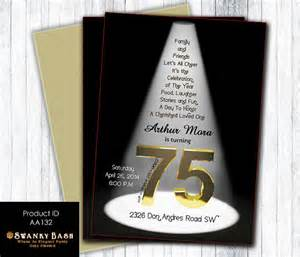 75th birthday bash spotlight invitation by swankybash