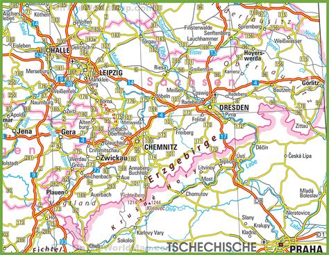 saxony germany map saxony road map