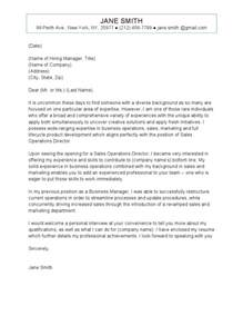 Operation Specialist Cover Letter by Sales Operations Cover Letter
