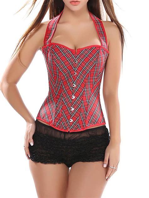 retro tartan lace up halter corset vest in xl sammydress