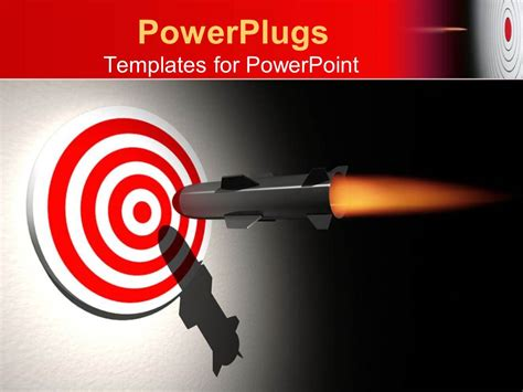 Powerpoint Template Rocket Aiming The Center Of A Bullseye Target On Gradient Gray And Black Target Powerpoint Template