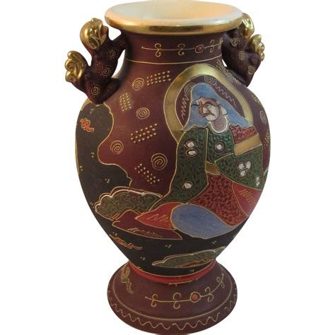 Japanese Moriage Vase by Large Japanese Moriage Satsuma Vase With 2 Handles From