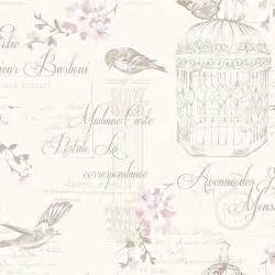 birds and typography shabby chic wallpaper natural the