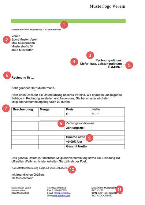 Rechnung Kleinunternehmer Ust Musterrechnung Verein Gratis Downloaden Everbill Magazin