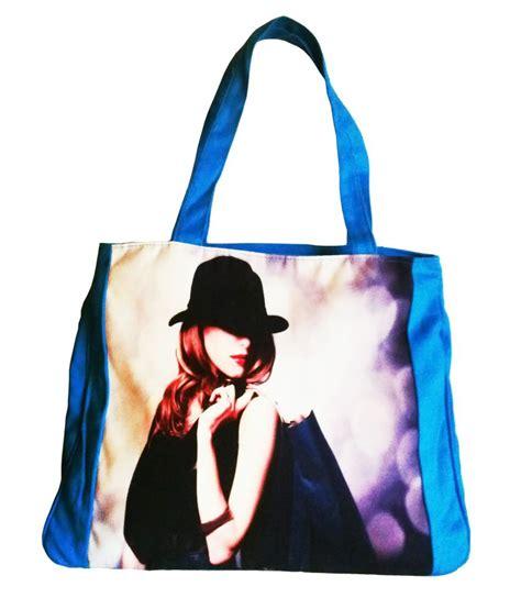 buy bags bucks blue printed canvas bag at best prices in