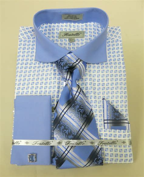 geometric pattern in french fratello frv4128p2 blue men s french cuff dress shirt 100