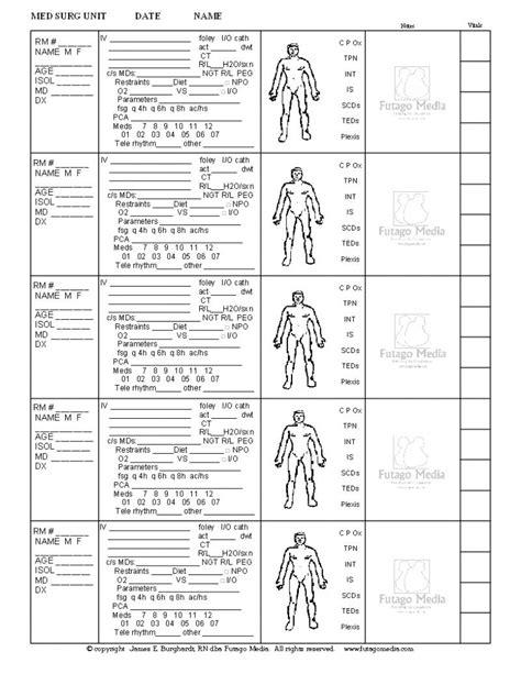 med surg report sheet templates nicu brain sheet futago media llc nursing stuff