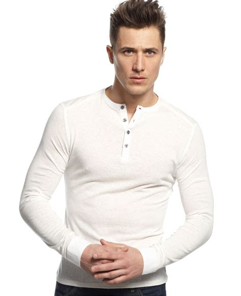 White Henley Shirt by Vince Camuto Slim Fit Sleeve Henley Shirt In White For Lyst