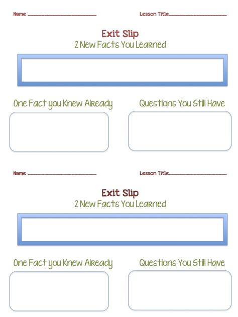 exit slip template pdf tween teaching parent contact log and exit slip sheets