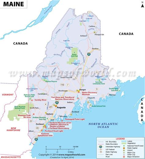 road map maine usa maine map showing the major travel attractions including