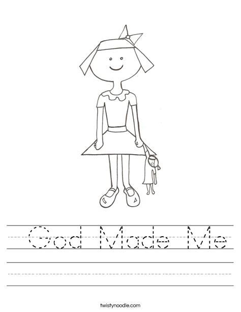 God Made Me Worksheet by God Made Me Worksheet Twisty Noodle