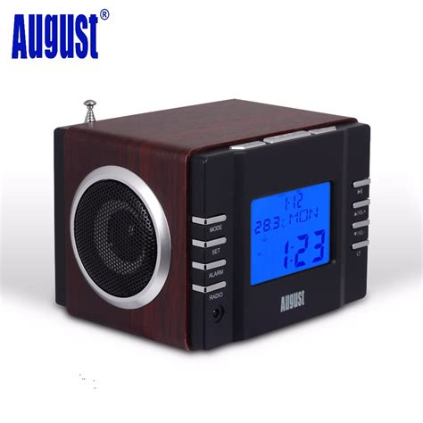 Usb Radio august mb300b mini wood fm clock radio receiver and mp3 stereo system with card reader usb aux