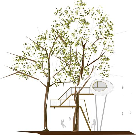 team tree house baumraum places elliptical pod around two oaks for