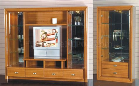 Wall Unit Display Cabinet by Cherry Finish Modern Wall Unit With Display Cabinets