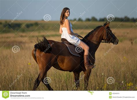 Girl In White Dress Riding On A Horse Stock Image Image