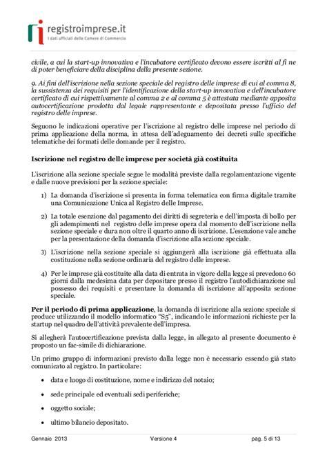 certificato di iscrizione alla di commercio start up innovative guida sintetica di infocamere