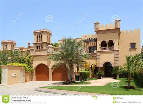 home design arabic style arabian style house with two garages and archs stock photo