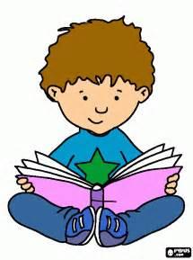 menino lendo colouring pages