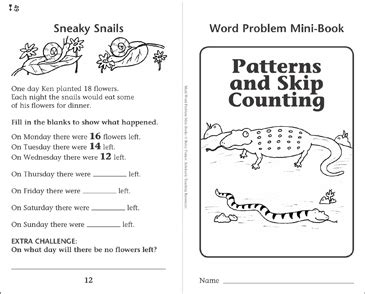 Patterns And Skip Counting Word Problems Printable Mini
