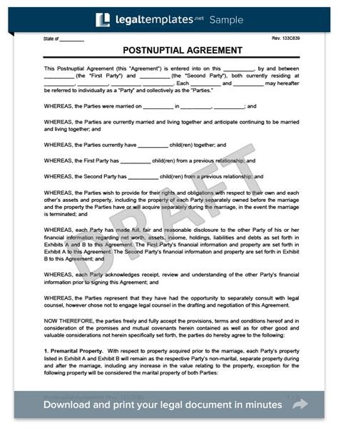 postnuptial agreement template postnuptial agreement create a free postnup legaltemplates