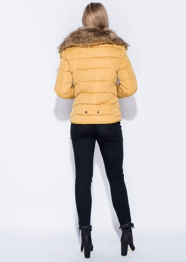 Faux Fur Collar Padded Coat faux fur collar quilted padded puffer jacket coat mustard