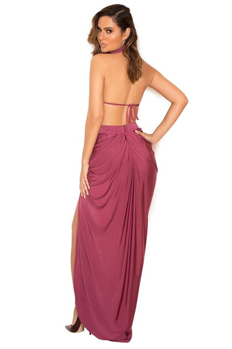 draped maxi dresses clothing max dresses vittoria raspberry draped silky