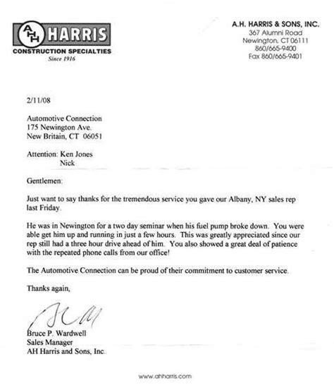 Thank You Letter For Mechanic Auto Repair Mechanic In New Britain Newington And