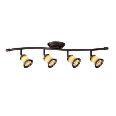 Home Depot Track Lighting Fixtures Hton Bay 4 Light Antique Bronze Track Lighting With Wave Bar Fixture Ec631abz The Home Depot