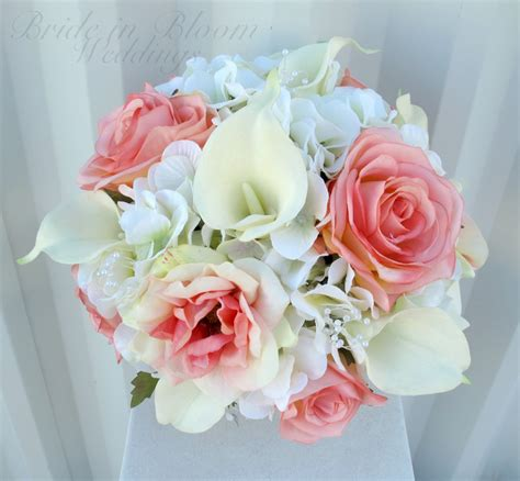 Wedding Bouquet With Calla Lilies by Coral Calla Wedding Bouquet In Bloom