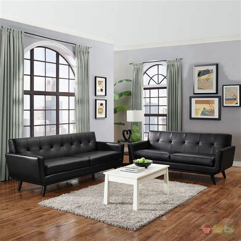 tufted living room set engage contemporary 2pc button tufted leather living room