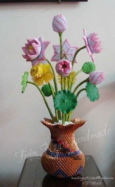 origami florero 3d origami vase with flowers 3d origami