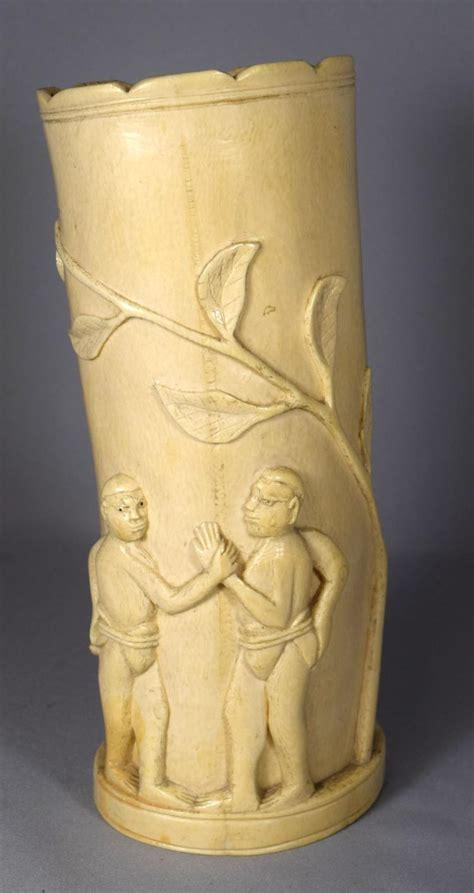 Ivory Vase by Carved Ivory Tusk Vase