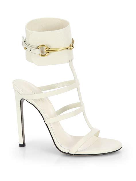 gucci ursula leather cage sandals in white mystic white
