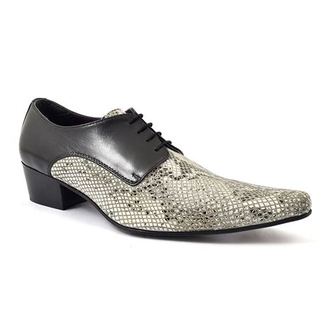 buy mens black python cuban heel derby shoes gucinari