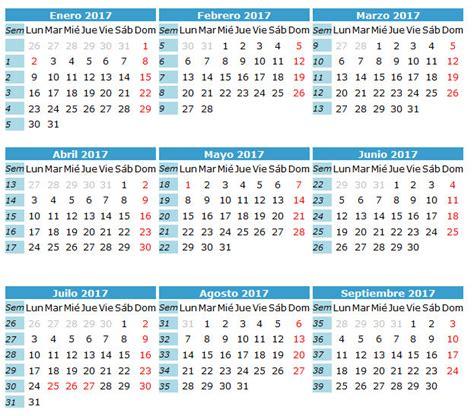 Calendario Por Semanas 2017 Para Imprimir Calendario 2017 Caledarios 2017 Para Imprimir
