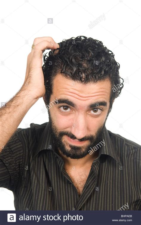 middle east men hair 25 years old middle eastern man confused and scratching