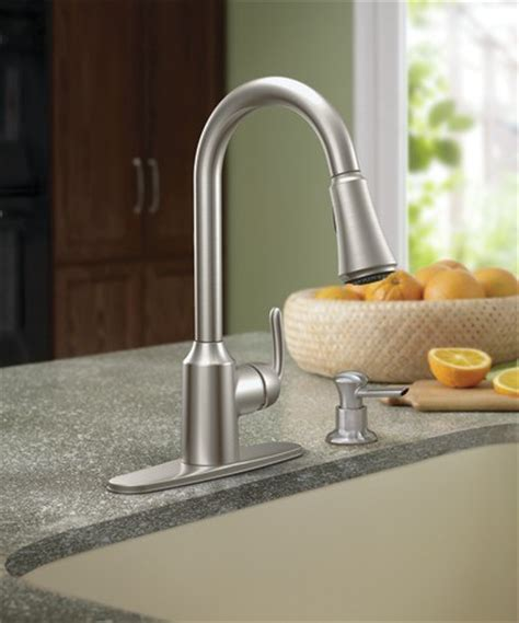 moen bayhill single handle high arc kitchen faucet at menards 174 moen bayhill spot resist stainless one handle high arc