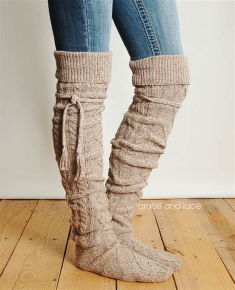sock boots for legs alpine thigh high slouch sock barley brown thick cable