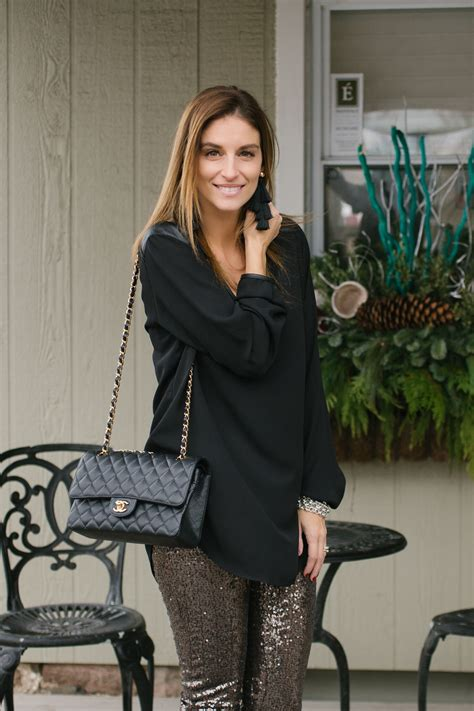 Chiffon Sequin Pouch By Bags To Die For by Gold Sequin Black Chiffon Top Black Tassel