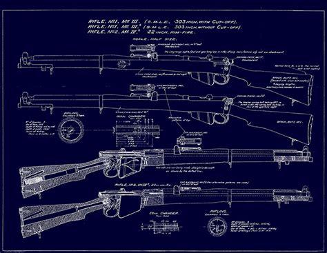 Wall Art Australia Stickers quot 303 lee enfield rifle blueprint dark blue quot photographic