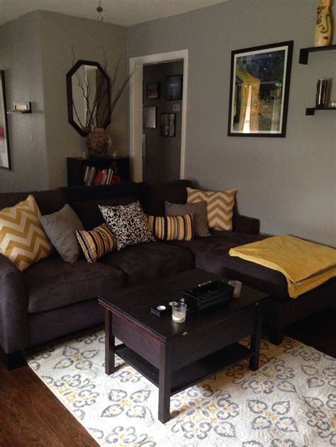 dark brown living room grey brown yellow living rooms google search living
